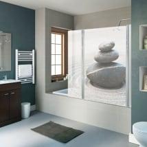 Vinilos mamparas de baño piedras zen