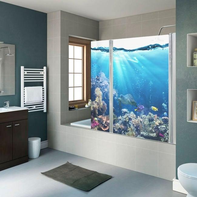 Vinilos mamparas de baño mundo marino