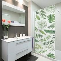 Vinilos mamparas baños hojas naturaleza
