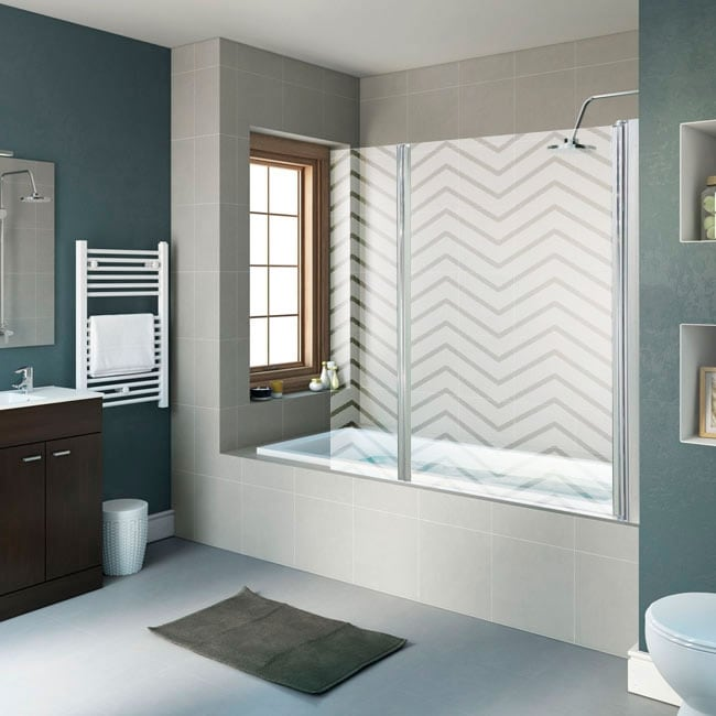 Vinilos mamparas baños líneas zigzag