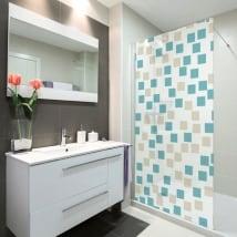 Vinilos mamparas baños cuadrados de colores