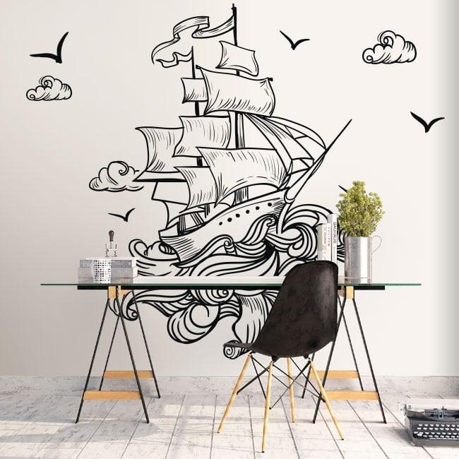 Vinilo paredes barco en el mar