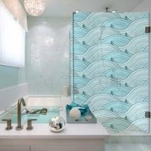 Vinilos mamparas baños olas