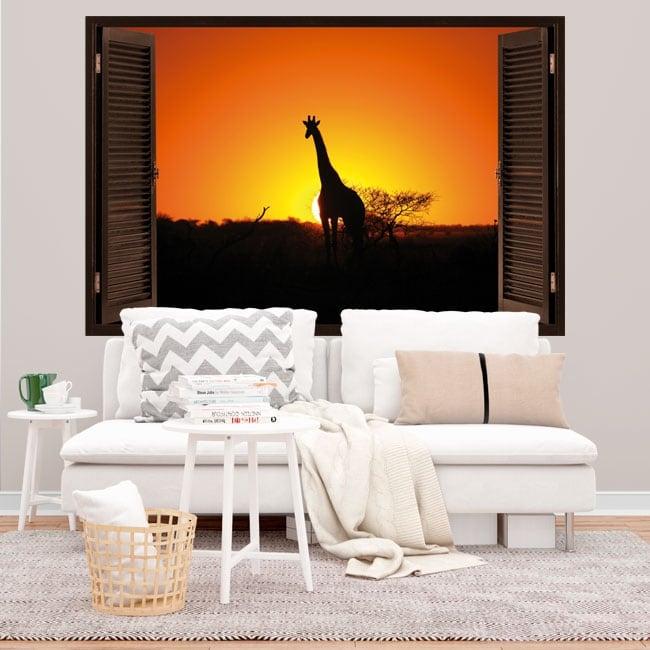 Vinilos decorativos jirafa al atardecer ventana 3d