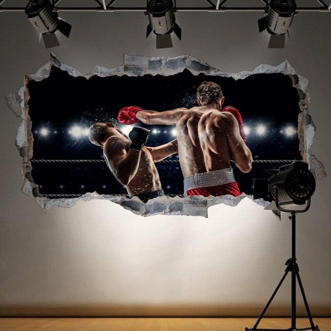 Vinilos decorativos boxeo agujero pared 3d