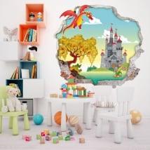 Vinilos paredes infantiles dragón y castillo 3d