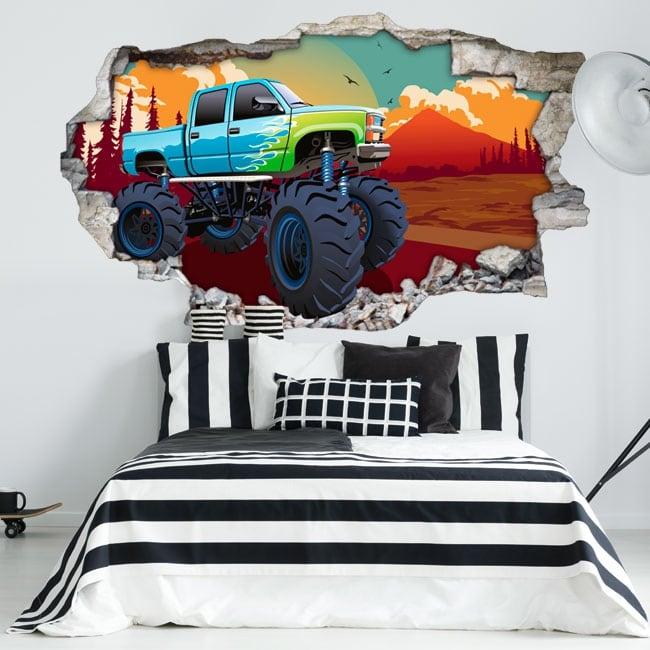 Vinilos paredes monster truck 3d