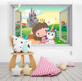 Vinilos infantiles princesa y unicornio 3d