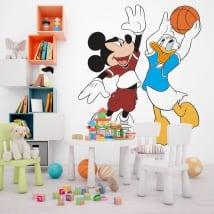 Vinilos mickey mouse y pato donald baloncesto