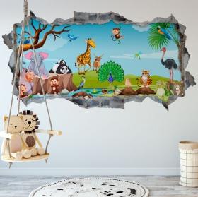 Vinilos paredes infantiles animales naturaleza 3d