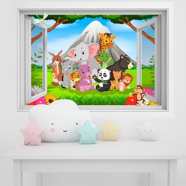 Vinilos paredes infantiles animales en la selva 3d