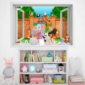 Vinilos paredes infantiles animales en el zoo 3d