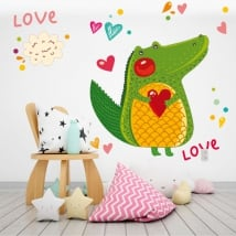 Vinilos paredes cocodrilo y corazones love