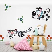 Vinilos paredes flores perro y gato