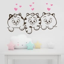 Vinilos decorativos paredes gatos y corazones