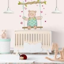 Vinilos paredes infantiles osito y columpio