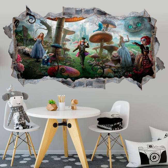 Vinilos adhesivos paredes alicia a través del espejo 3d