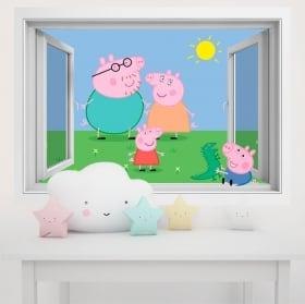 Vinilos paredes infantiles peppa pig 3d