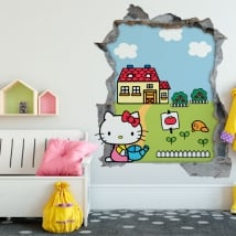 Vinilos hello kitty agujero pared 3d