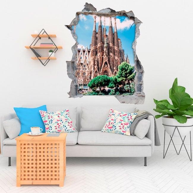 Vinilos decorativos barcelona sagrada familia 3d