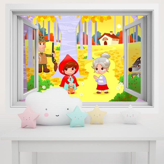 Vinilos paredes infantiles caperucita roja 3d for Vinilos 3d infantiles