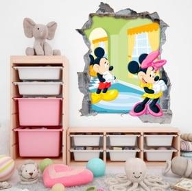 Vinilos paredes disney mickey y minnie mouse 3d