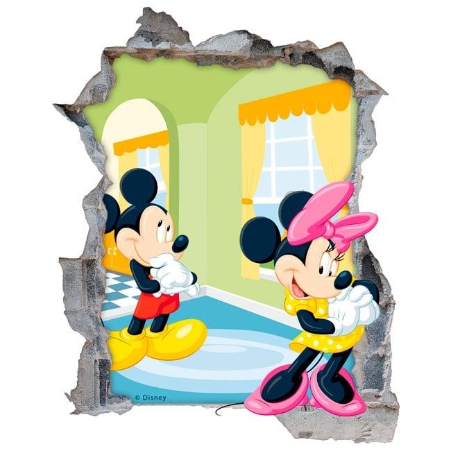 Vinilos Mickey Mouse Para Pared.Vinilos Paredes Disney Mickey Y Minnie Mouse 3d