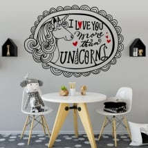 Vinilos decorativos y pegatinas unicornio y frase