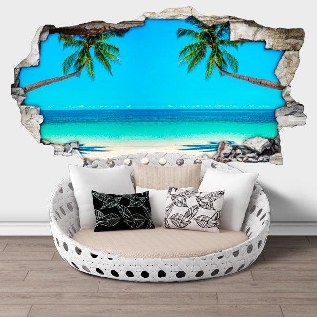 Vinilos paredes palmeras en la playa 3d
