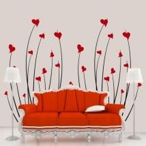 Vinilos decorativos corazones flores