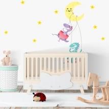 Vinilos habitaciones infantiles dinosaurios luna y estrellas