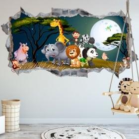 Vinilos decorar habitaciones infantiles animales naturaleza 3d