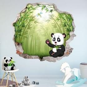 Vinilos paredes infantiles oso panda 3d