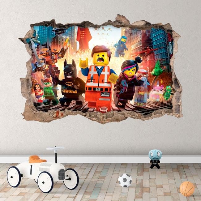 Vinilos agujero pared 3d the lego