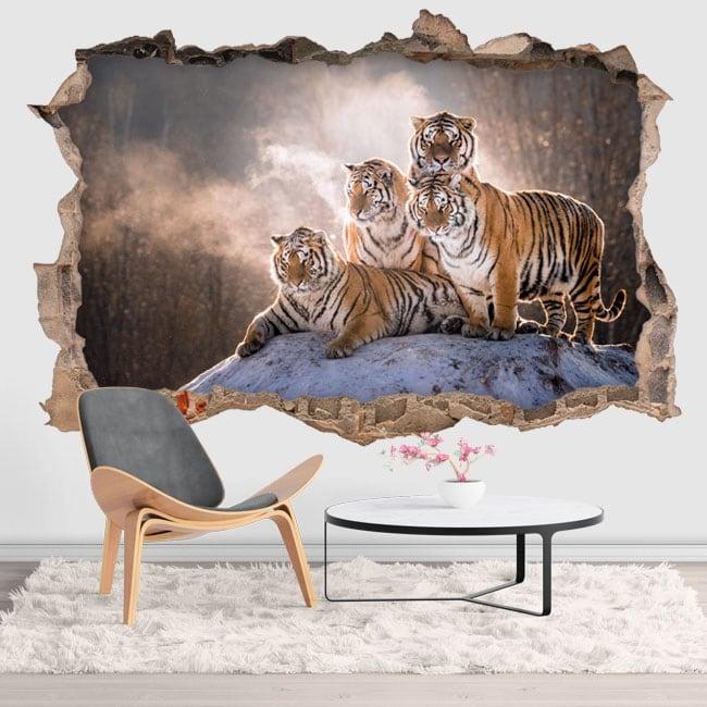 Vinilos y pegatinas tigres de bengala 3d