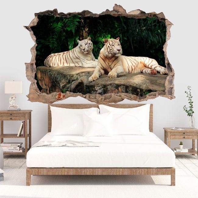 Vinilo decorativo tigre blanco 3d