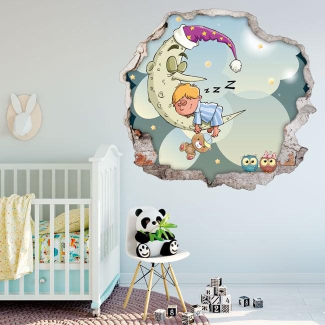 Vinilos infantiles niño durmiendo en la luna 3d