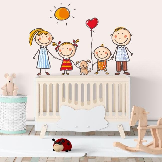 Vinilos Paredes Dibujo Infantil Familia - Dibujos-pared-infantil