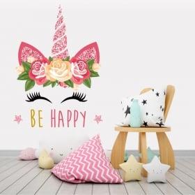 Vinilos y pegatinas unicornio be happy
