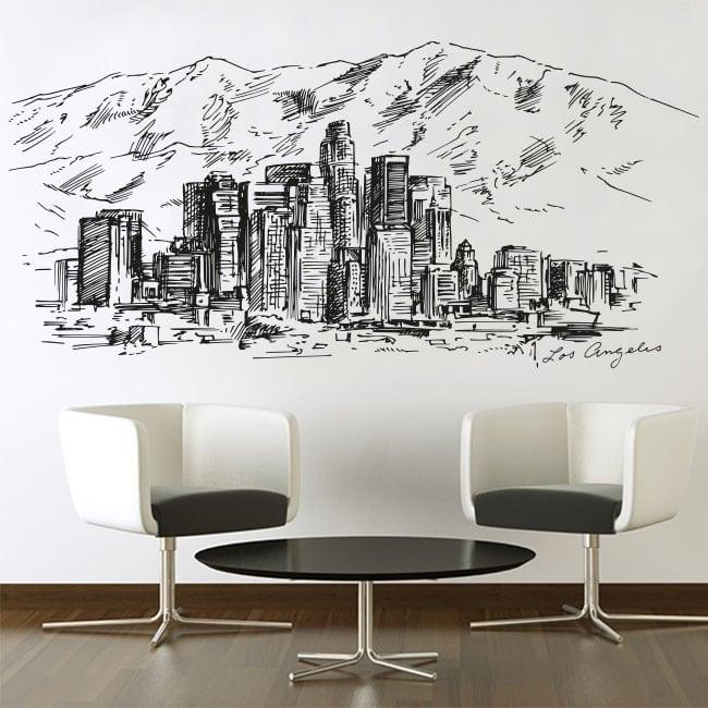 Vinilos y pegatinas dibujo skyline ciudad de los ángeles