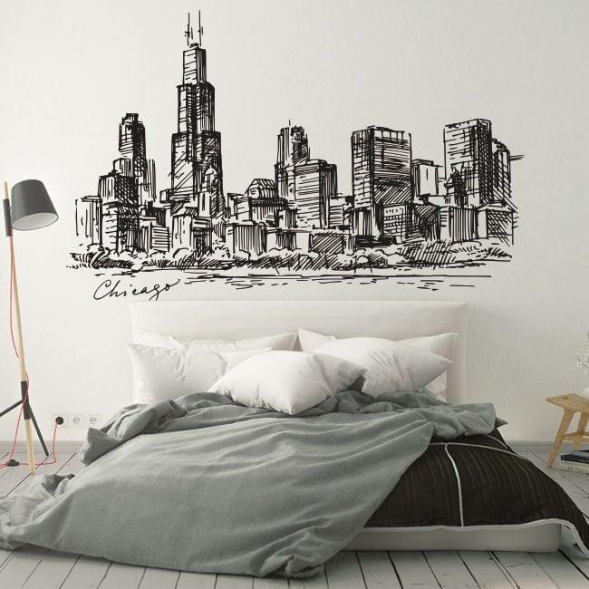 Vinilos y pegatinas dibujo skyline chicago ciudad