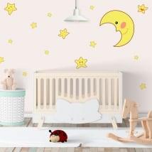 Vinilos adhesivos luna y estrellas infantiles