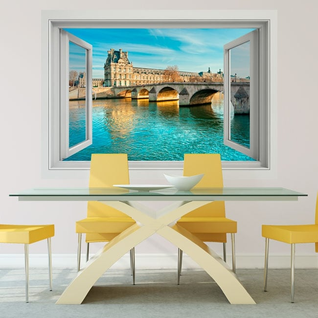 Vinilos paredes puente del carrousel río sena francia 3d