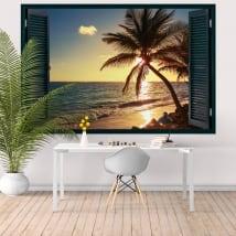 Vinilos paredes ventana atardecer en la playa 3d