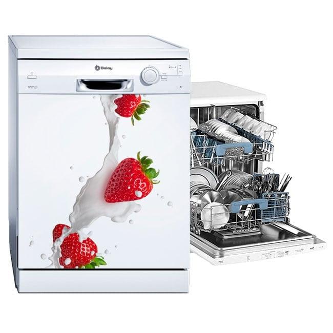 Vinilos para lavavajillas fresas con leche