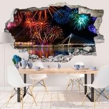 Vinilos de pared fuegos artificiales 3d