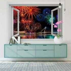 Vinilos y pegatinas ventana fuegos artificiales 3d