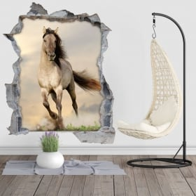 Vinilos agujero pared caballo 3d