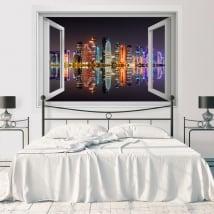 Vinilos ventana ciudad de doha catar 3d