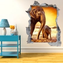 Vinilos agujero pared elefantes atardecer 3d